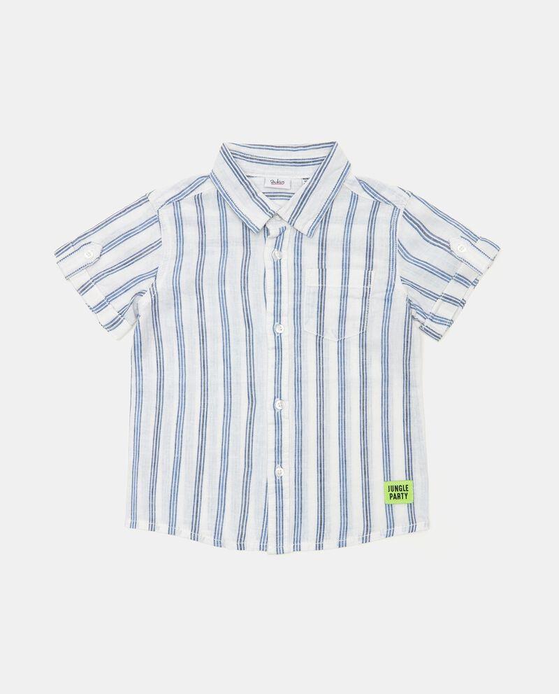 Camicia a righe in misto lino e cotone neonato