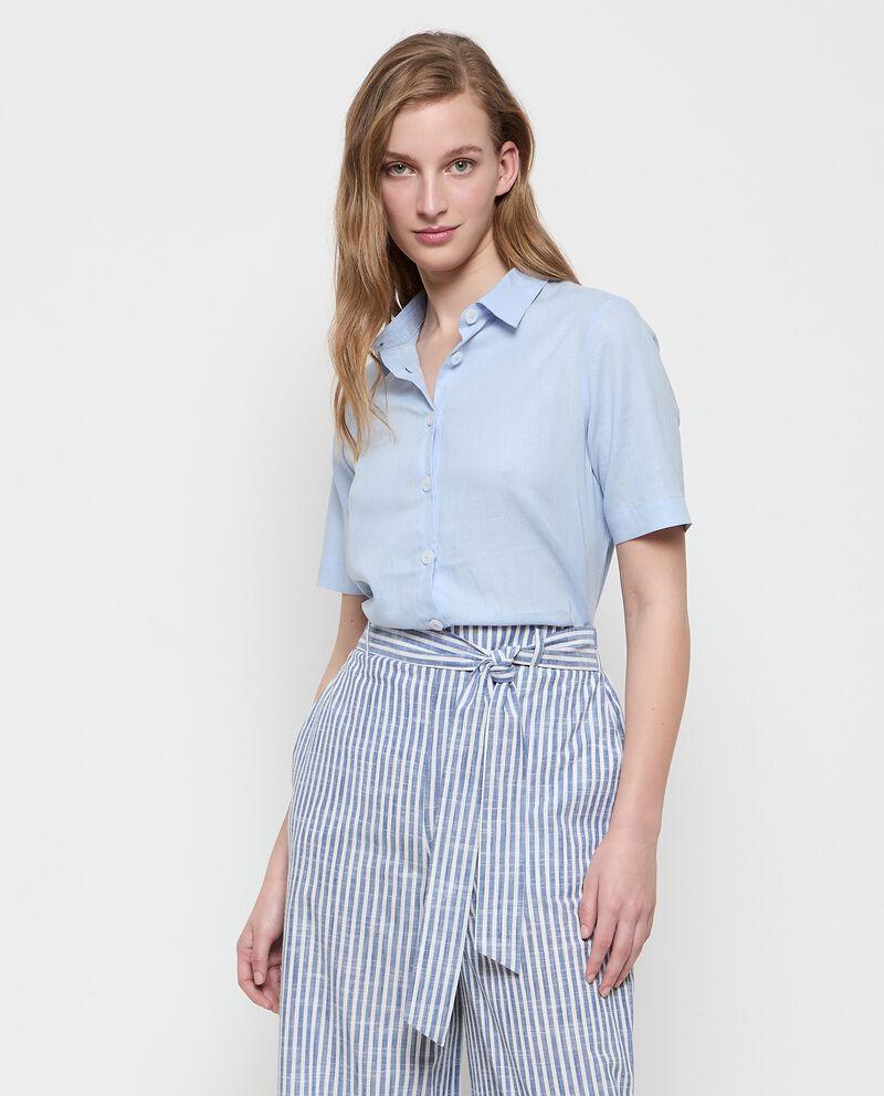 Camicia in lino misto viscosa tinta unita donna cover