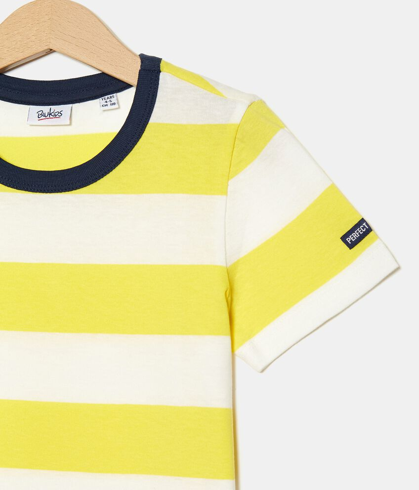 T-shirt rigata tinto filo in cotone organico jersey bambino double 2