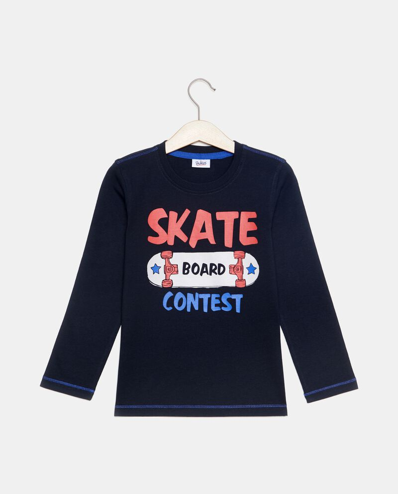 T-shirt in puro cotone con stampa skateboard bambino