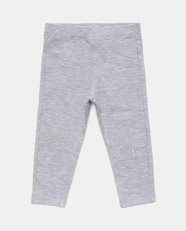 Pantaloni mélange con cuori neonata