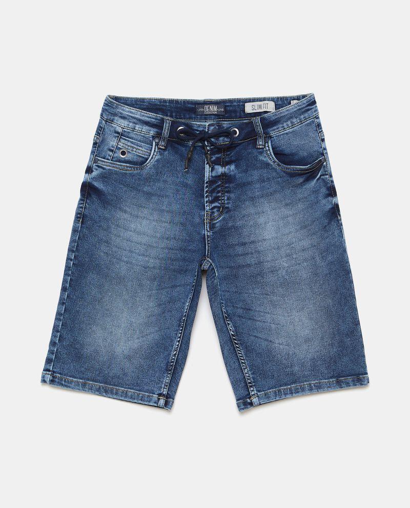 Shorts denim in cotone stretch con coulisse uomo cover
