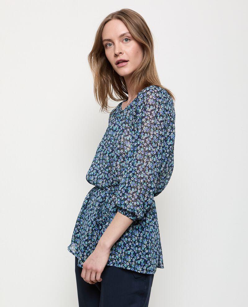 Camicia floreale con coulisse donna cover