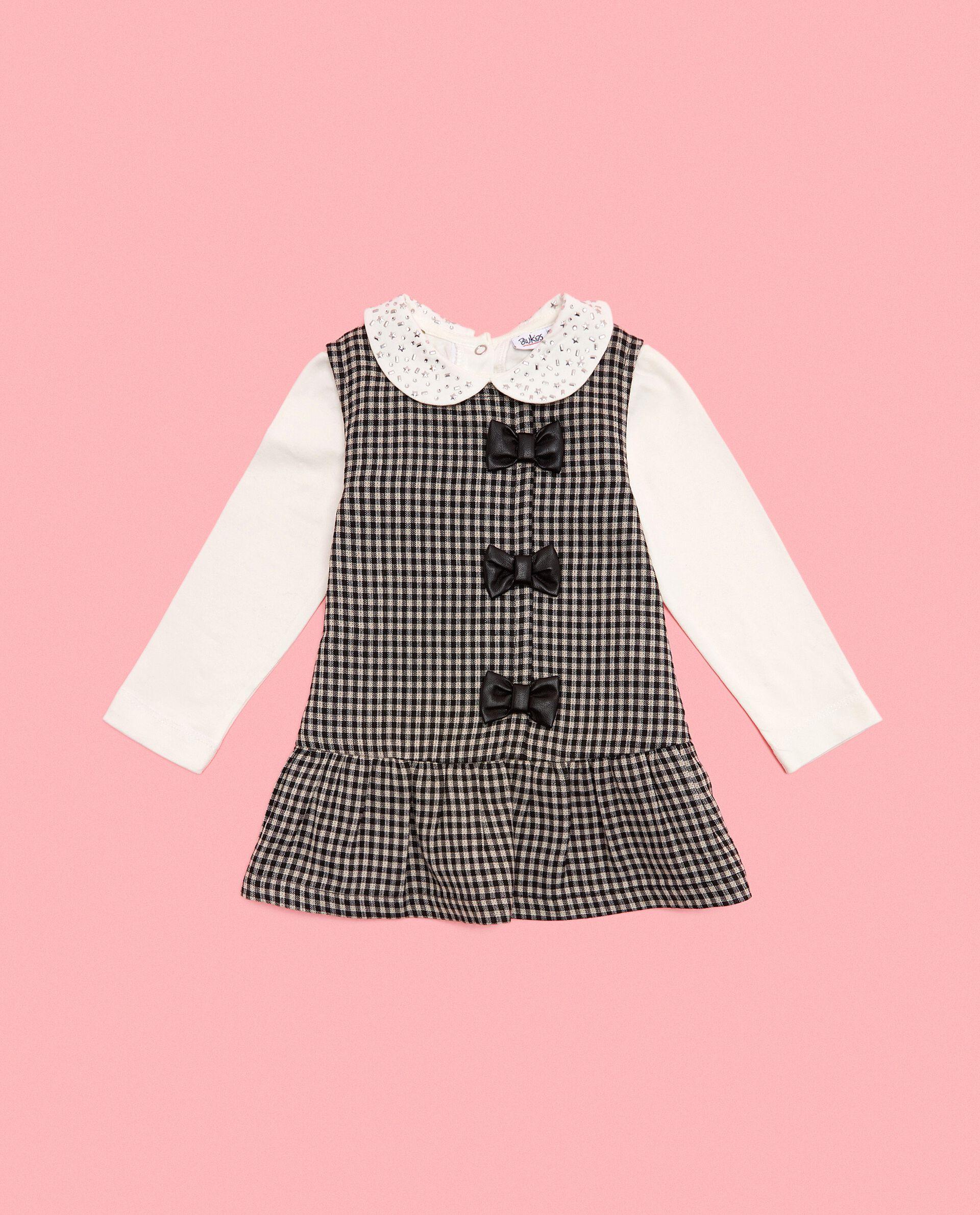 Vestitino scamiciato a quadri in cotone biologico neonata