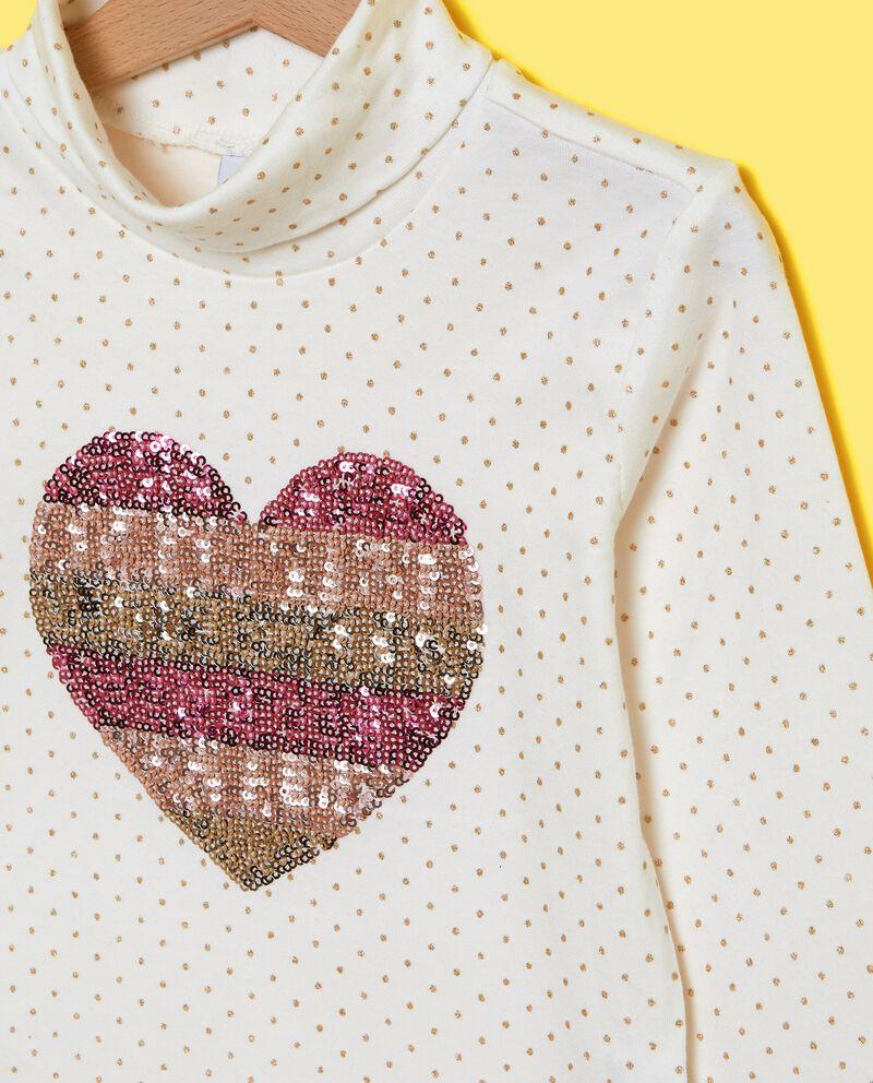 Maglietta collo alto con cuore bambina