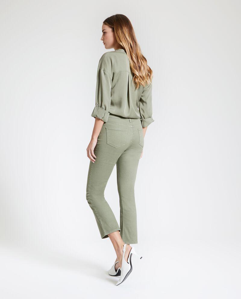 Pantaloni cropped in tinta unita donna