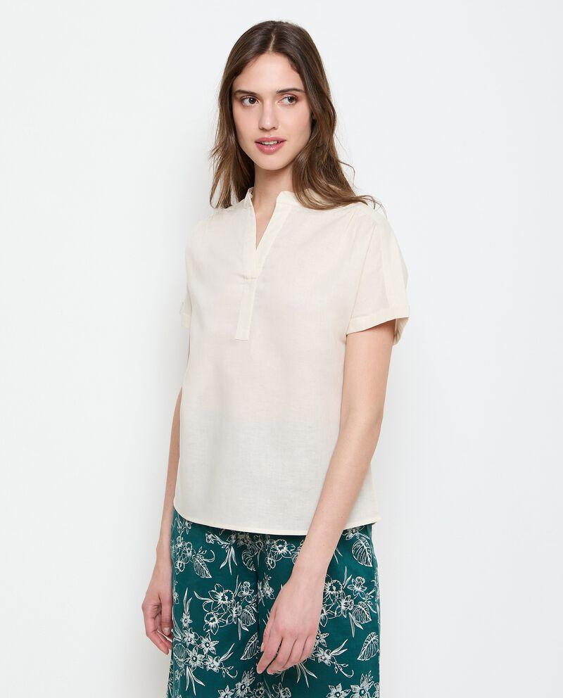 Camicia con colletto alla coreana in misto lino donna