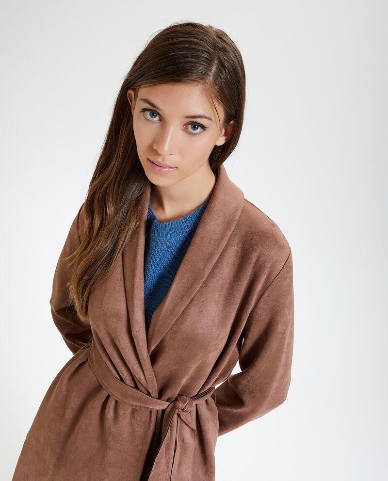 Cappotto leggero effetto scamosciato donna