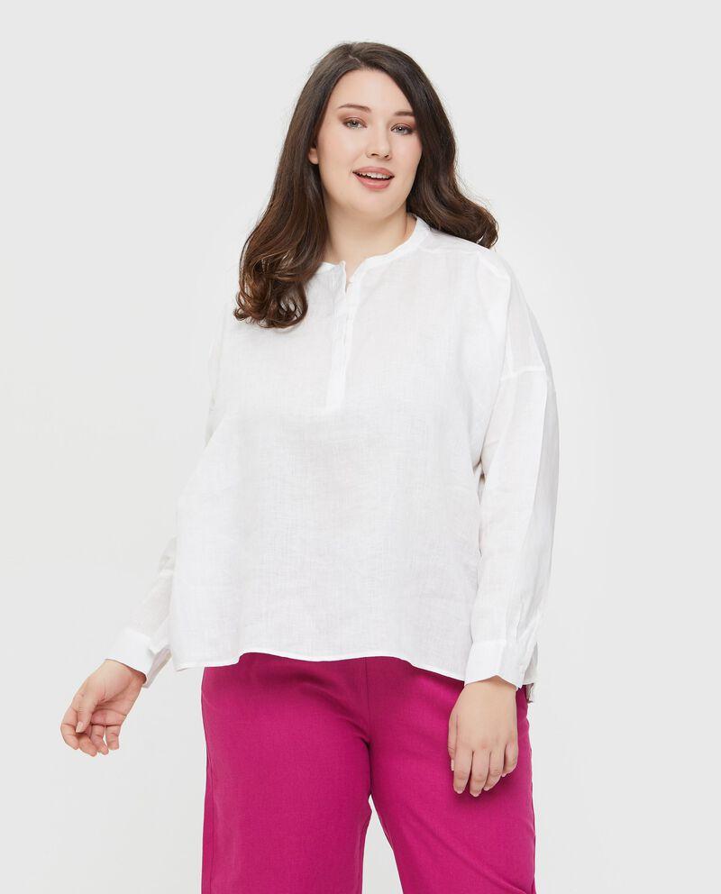 Camicia in puro lino tinta unita Curvy donna