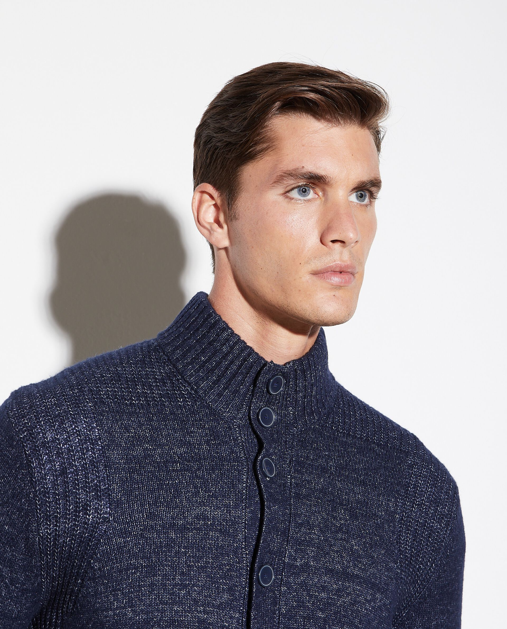 Cardigan in cotone misto lana mélange uomo