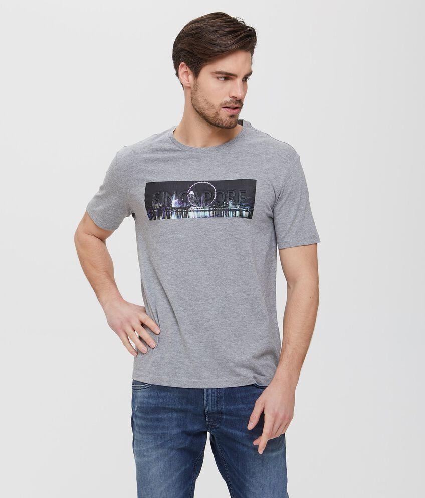 T-shirt in cotone grigia con stampa uomo