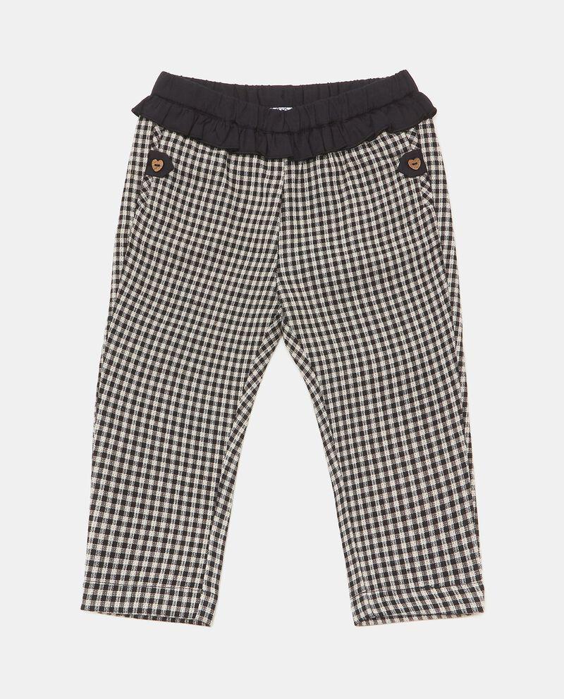 Pantaloni a quadri con fascia elastica ruche neonata