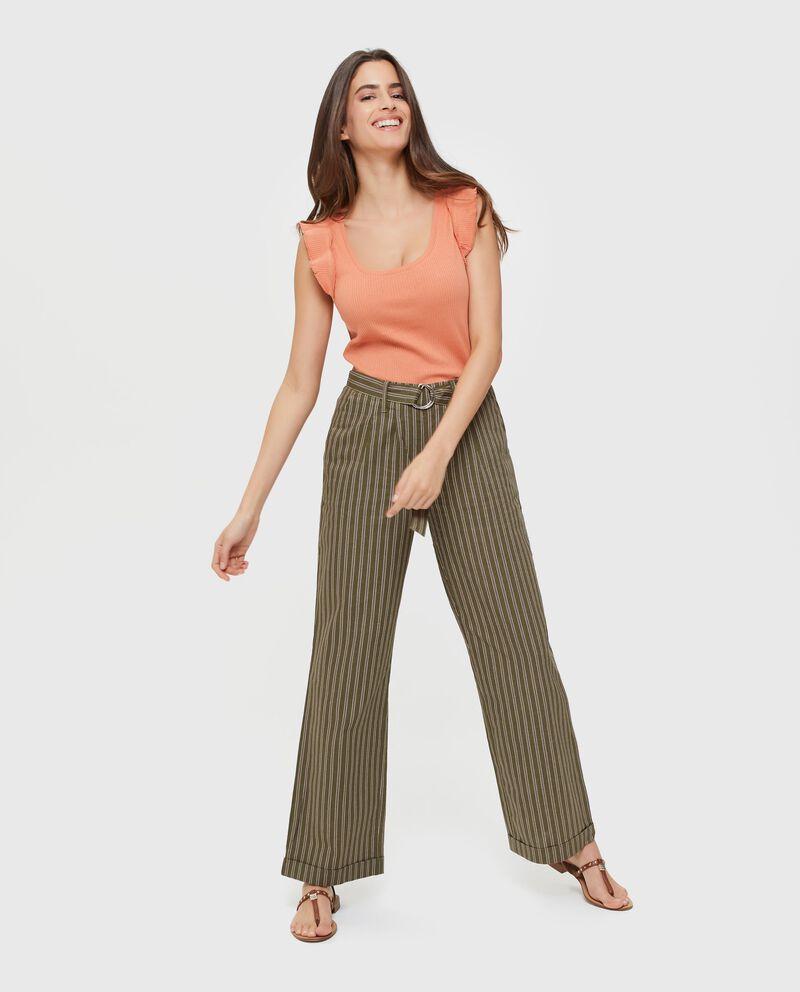 Pantaloni palazzo in lino e cotone a righe donna