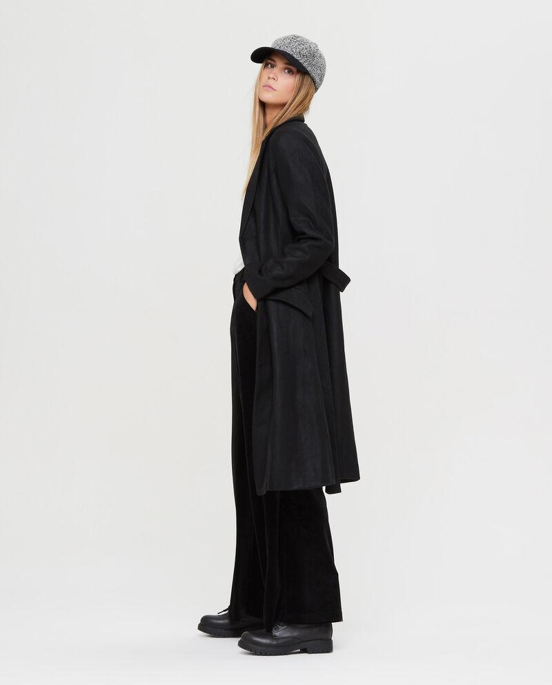 Cappotto lungo con revers e cintura
