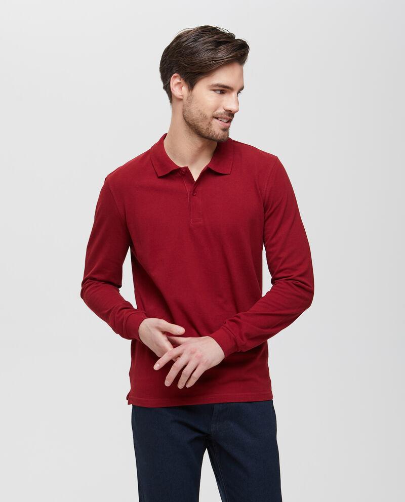 Polo in puro cotone rossa a maniche lunghe uomo