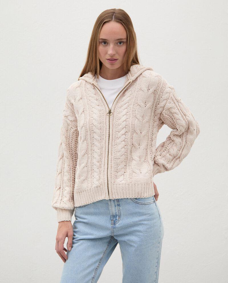 Cardigan tricot con cappuccio e zip donnadouble bordered 0