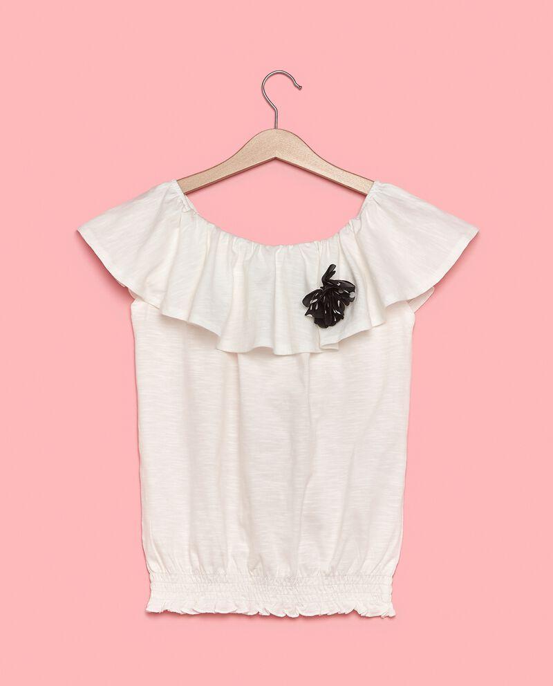 T-shirt con spalle scoperte in puro cotone ragazza