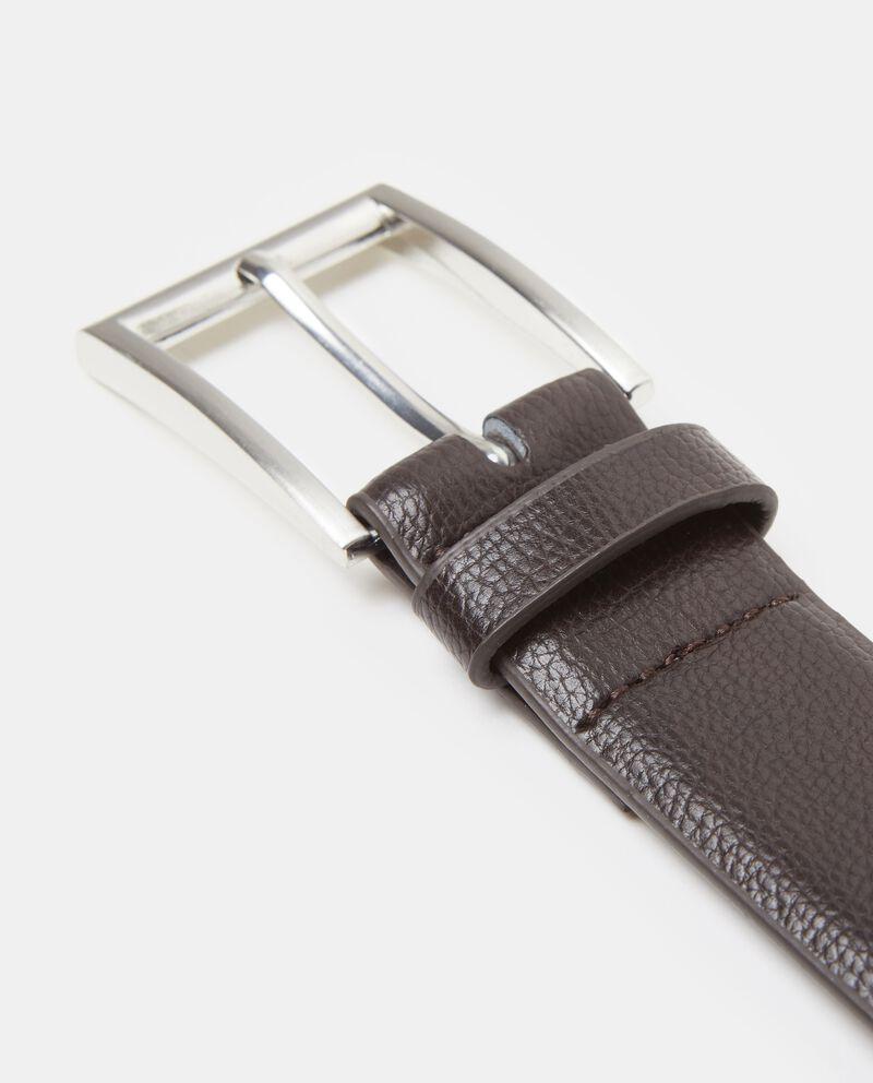 Cintura marrone similpelle saffiano uomo