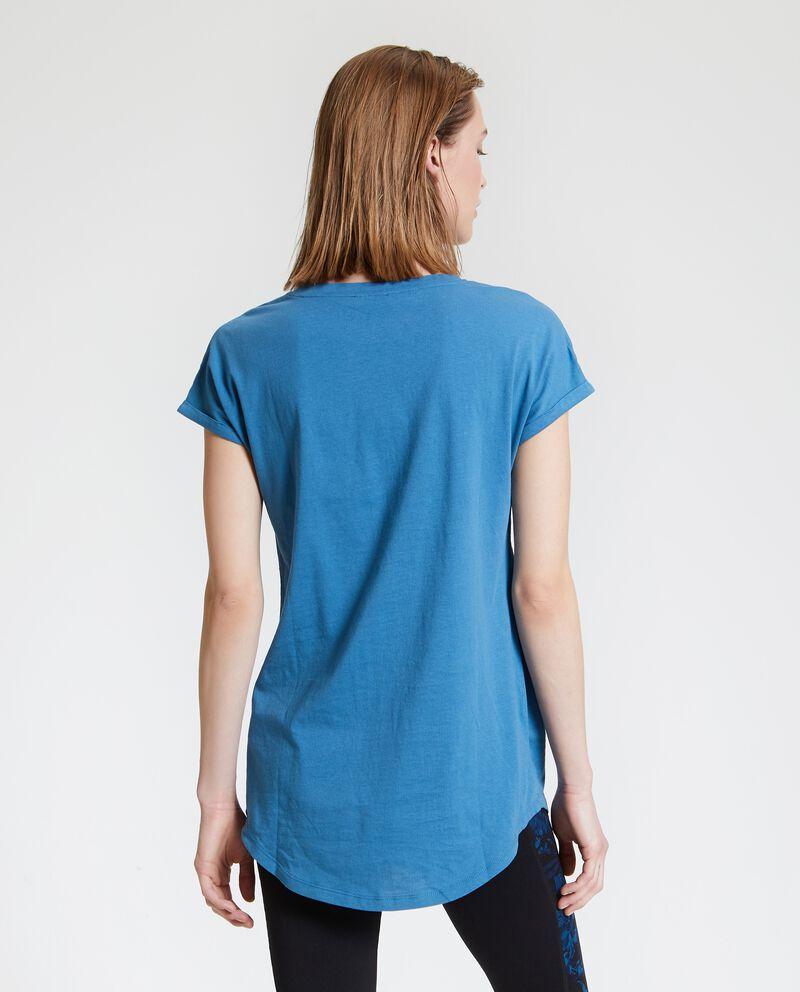 T-shirt in puro cotone con stampa e lettering donna