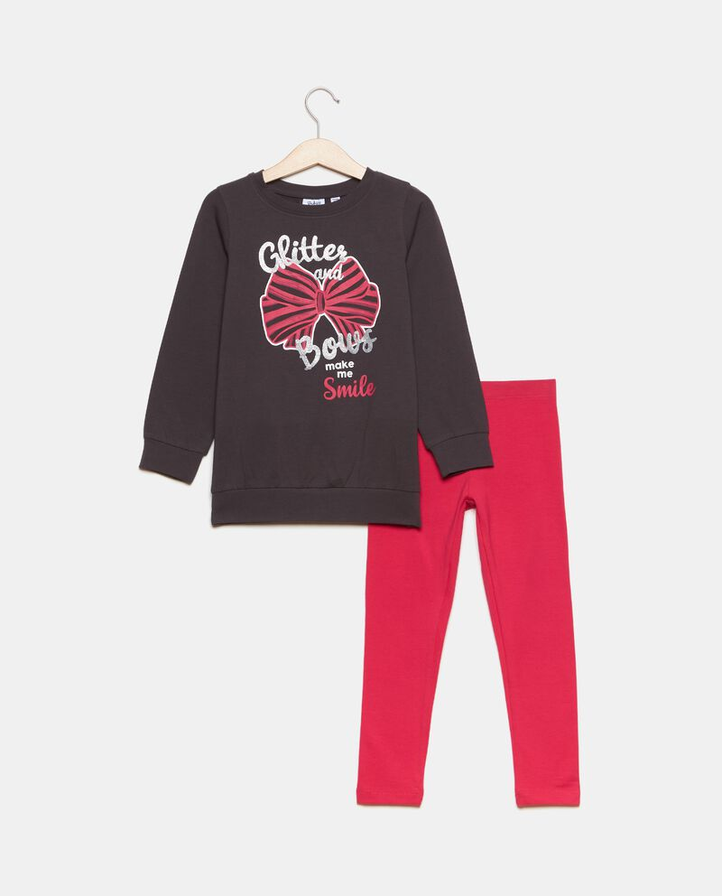 Set con felpa e leggings in cotone biologico bambina