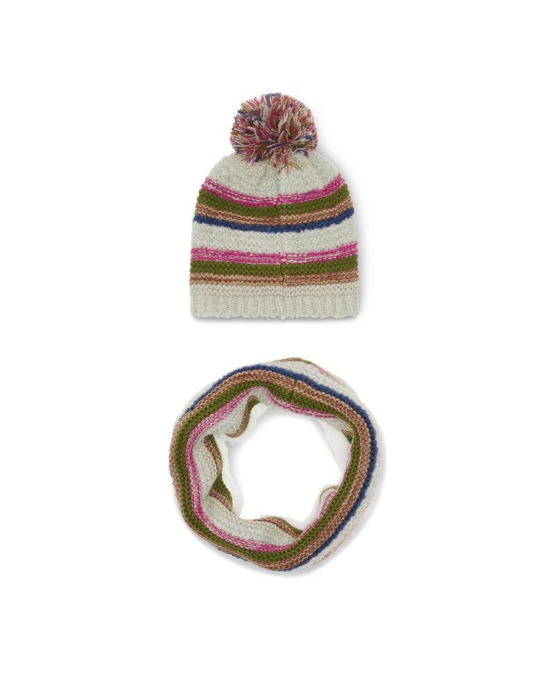 Completo sciarpa e berretto a righe
