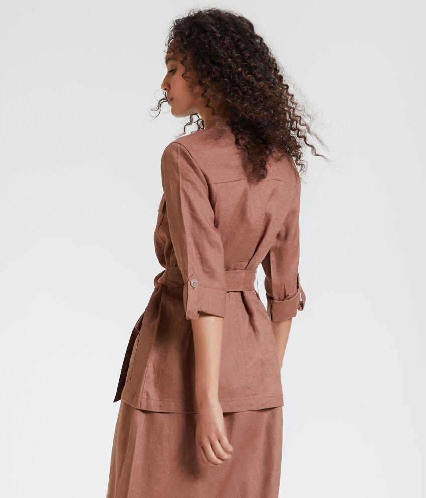 Giacca sahariana in puro lino con fusciacca donna