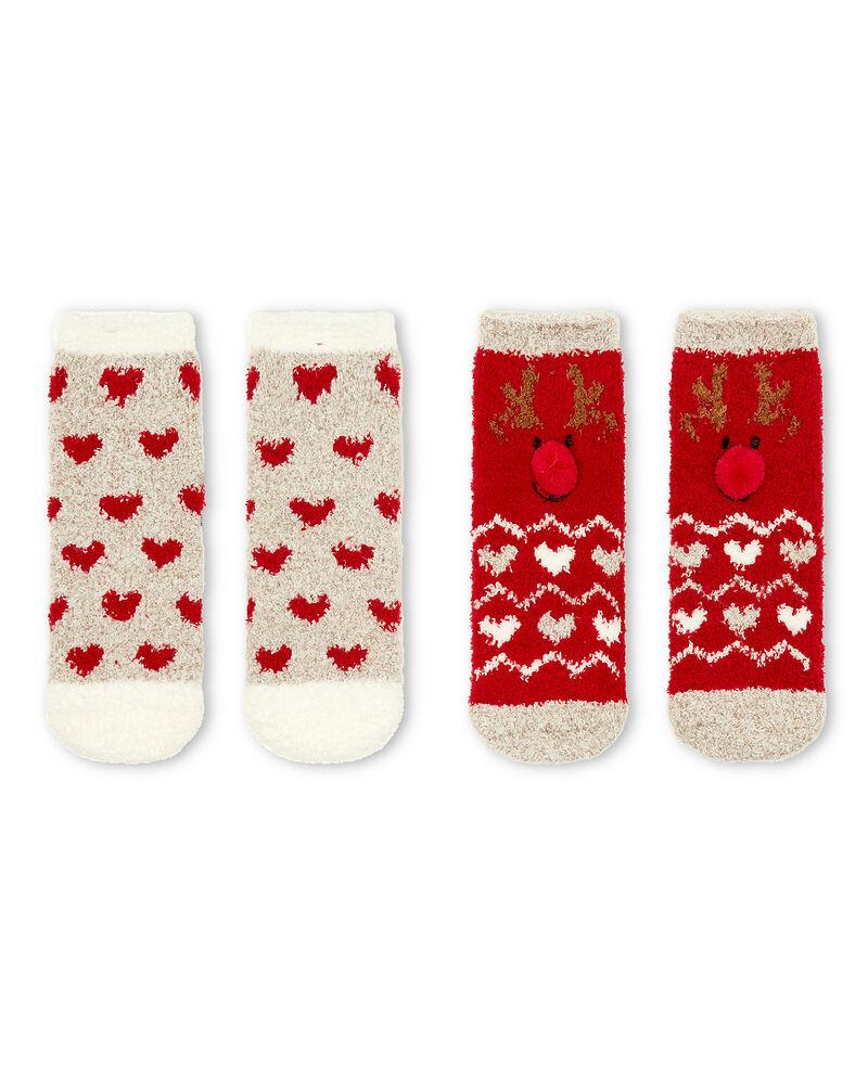 Set due calze antiscivolo cuori e renna