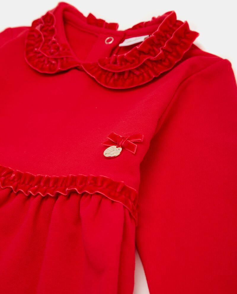 Vestito con ruche effetto velluto neonata