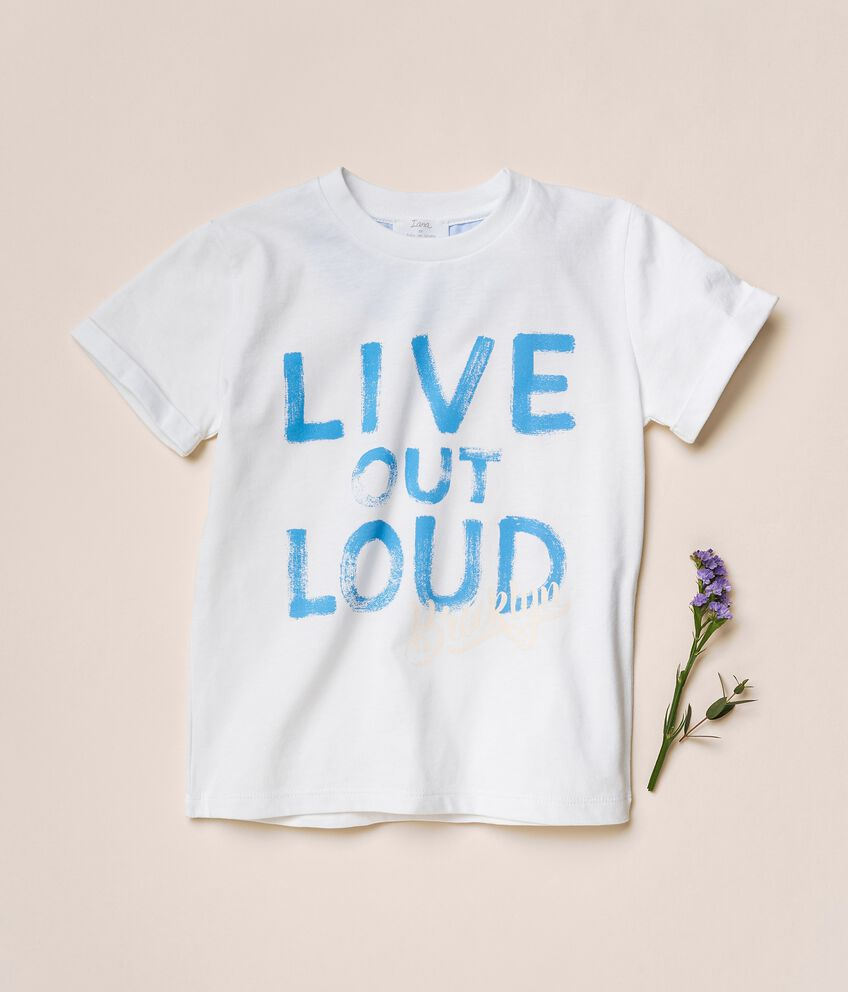 T-shirt in cotone organico jersey con stampa double 1