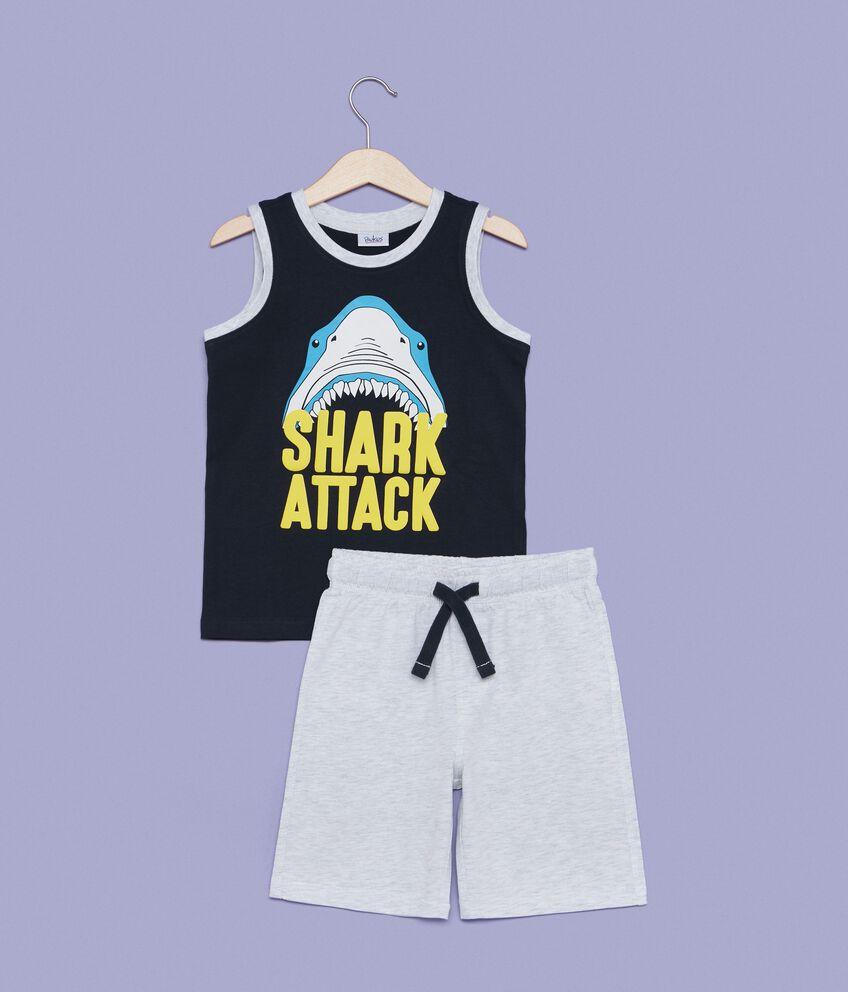 Set jogging canotta squalo e shorts bambino