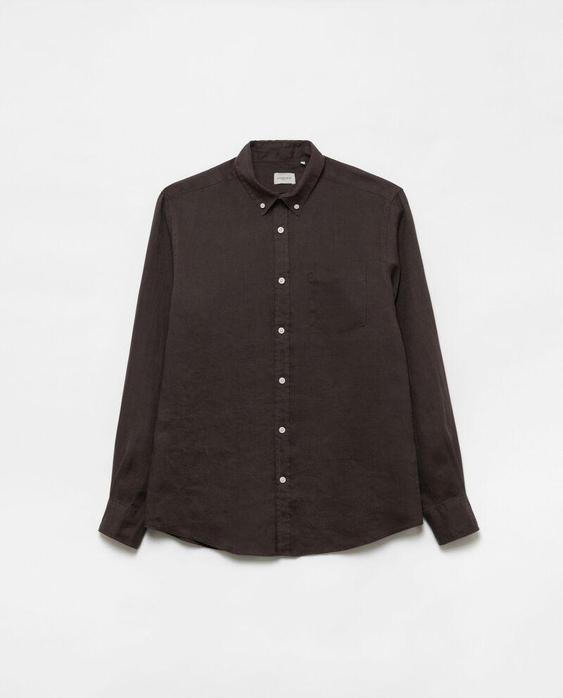 Camicia puro lino colletto button-down cover