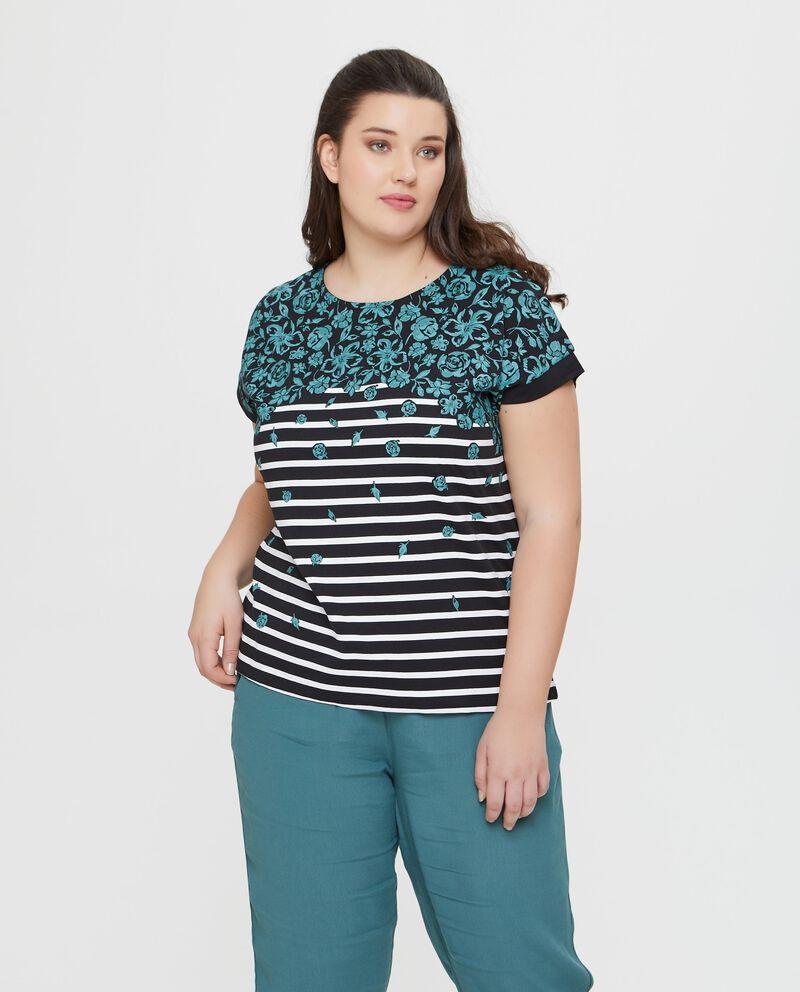 T-shirt in puro cotone nera a righe con fantasia floreale Curvy