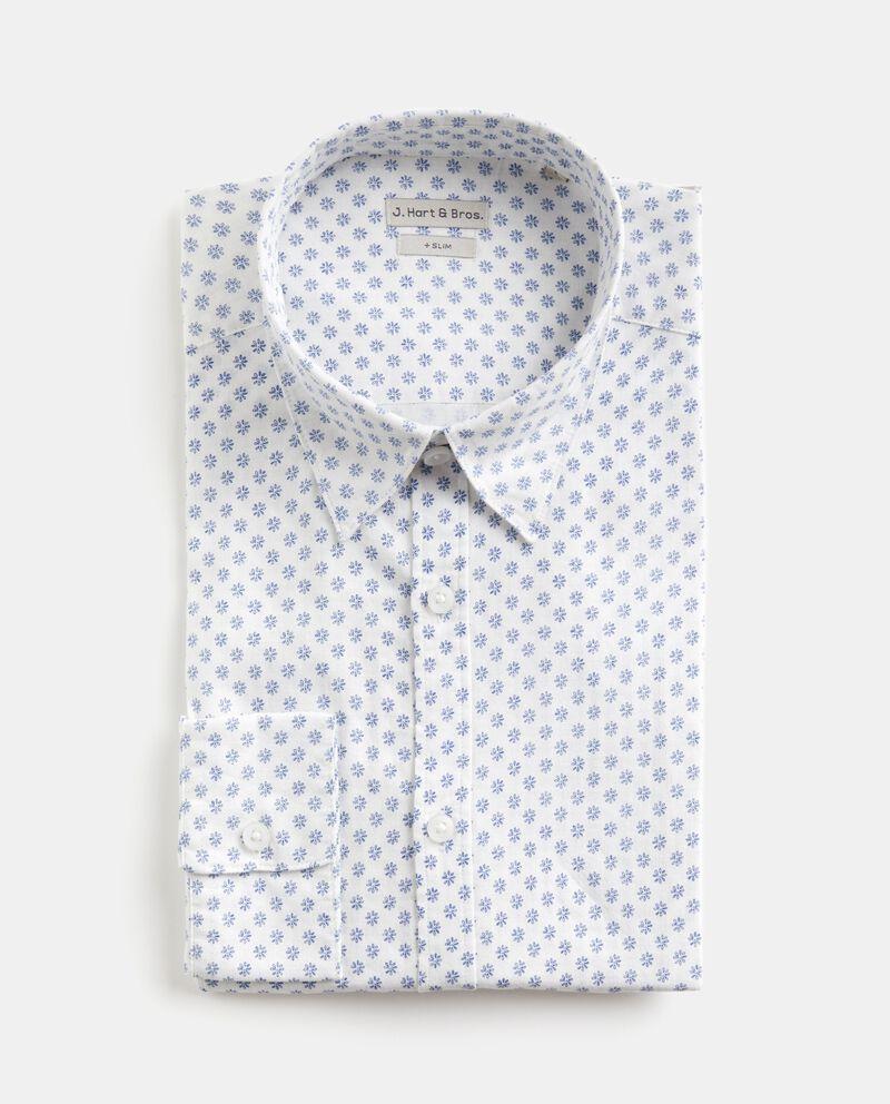 Camicia slim fit in cotone misto lino uomo