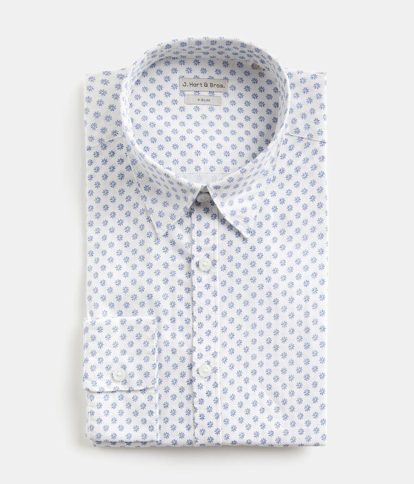 Camicia slim fit in cotone misto lino uomo double 1