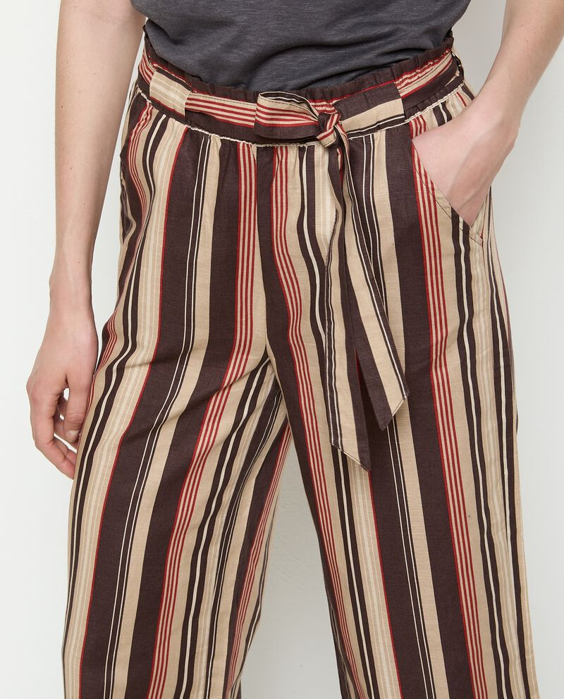 Pantaloni ampio in misto lino rigato donna single tile 2