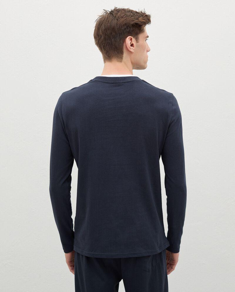 Maglia del pigiama in puro cotone con scollo a V uomo single tile 1