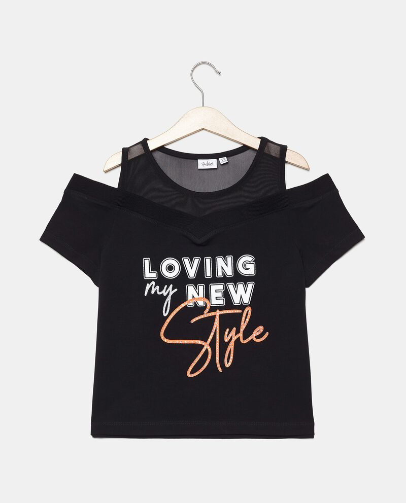 T-shirt spalle scoperte in cotone organico ragazza