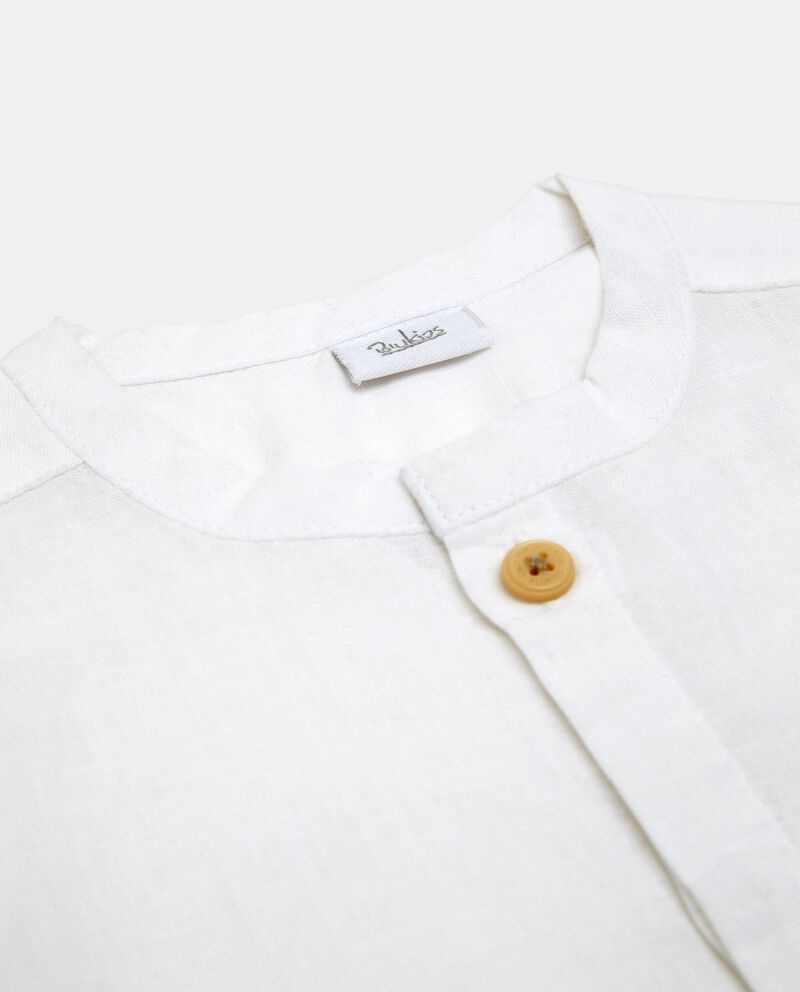 Camicia in lino e cotone bianca a maniche corte neonato