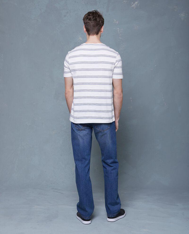 T-shirt bianca in puro cotone a maniche corte a righe