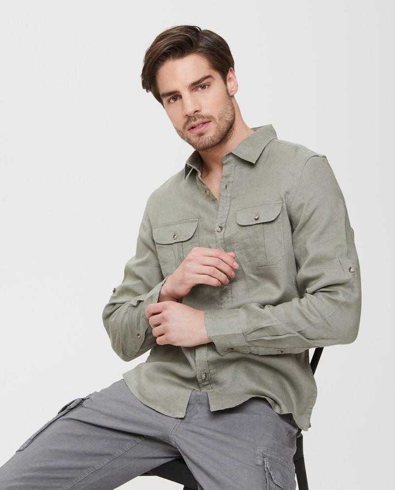 Camicia in puro lino verde con tasche applicate uomo