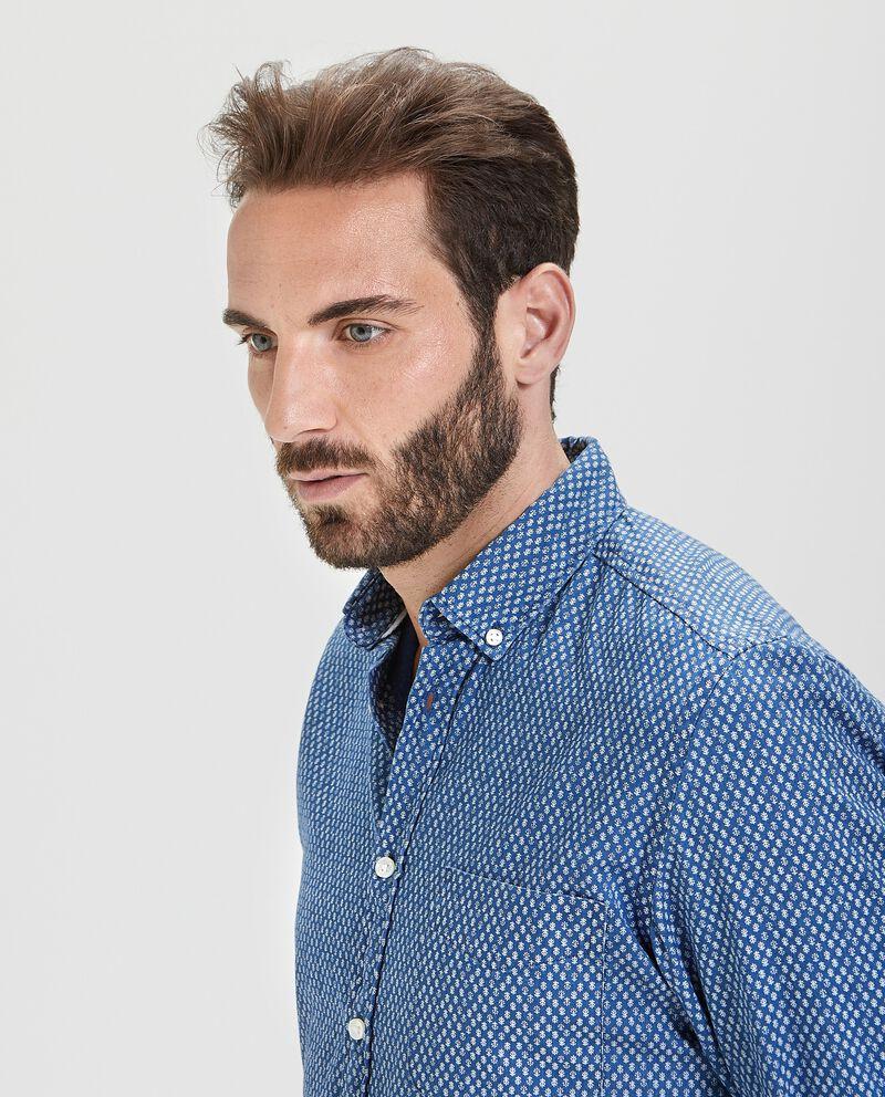 Camicia in puro cotone con fantasia regular fit uomo