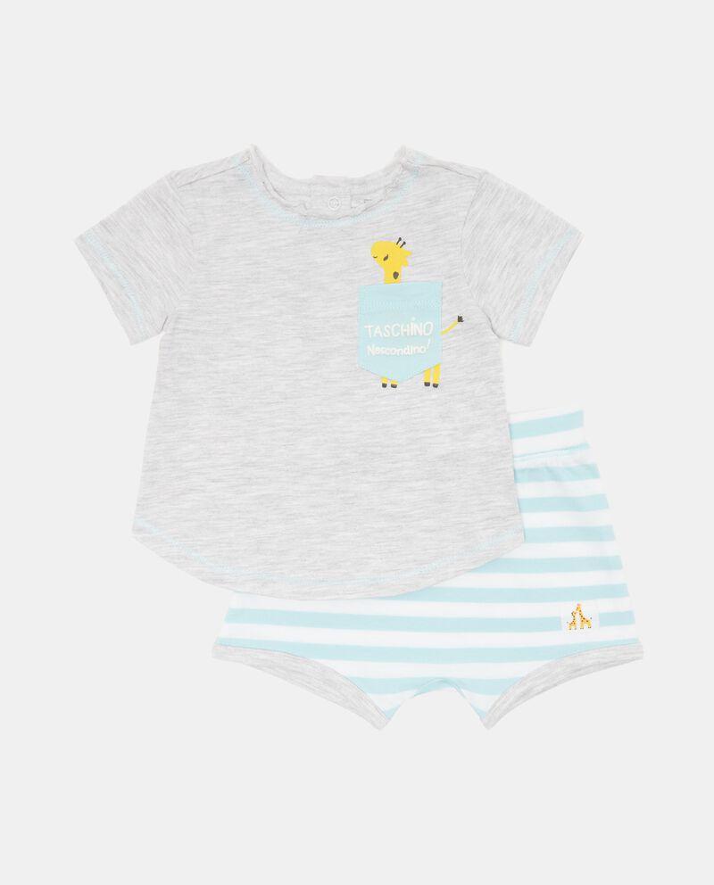 Completo con t-shirt e shorts in cotone stretchdouble bordered 0