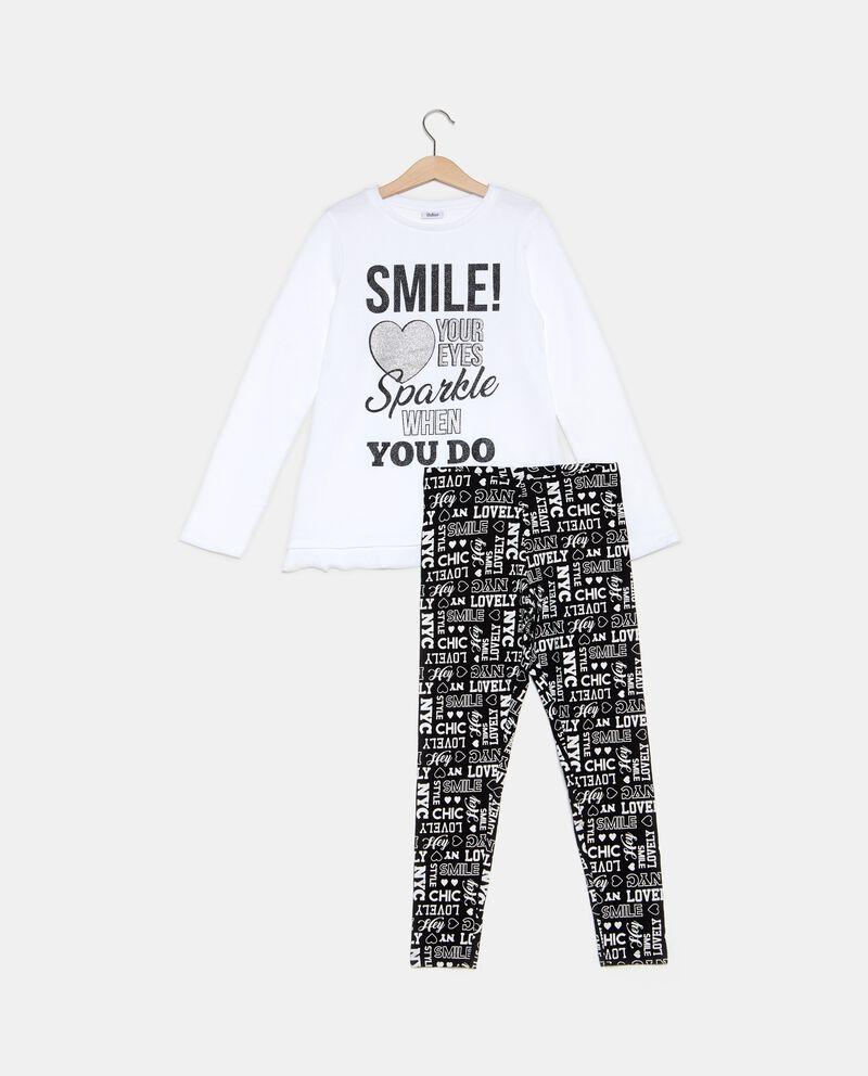 Set t-shirt e leggings lettering ragazza