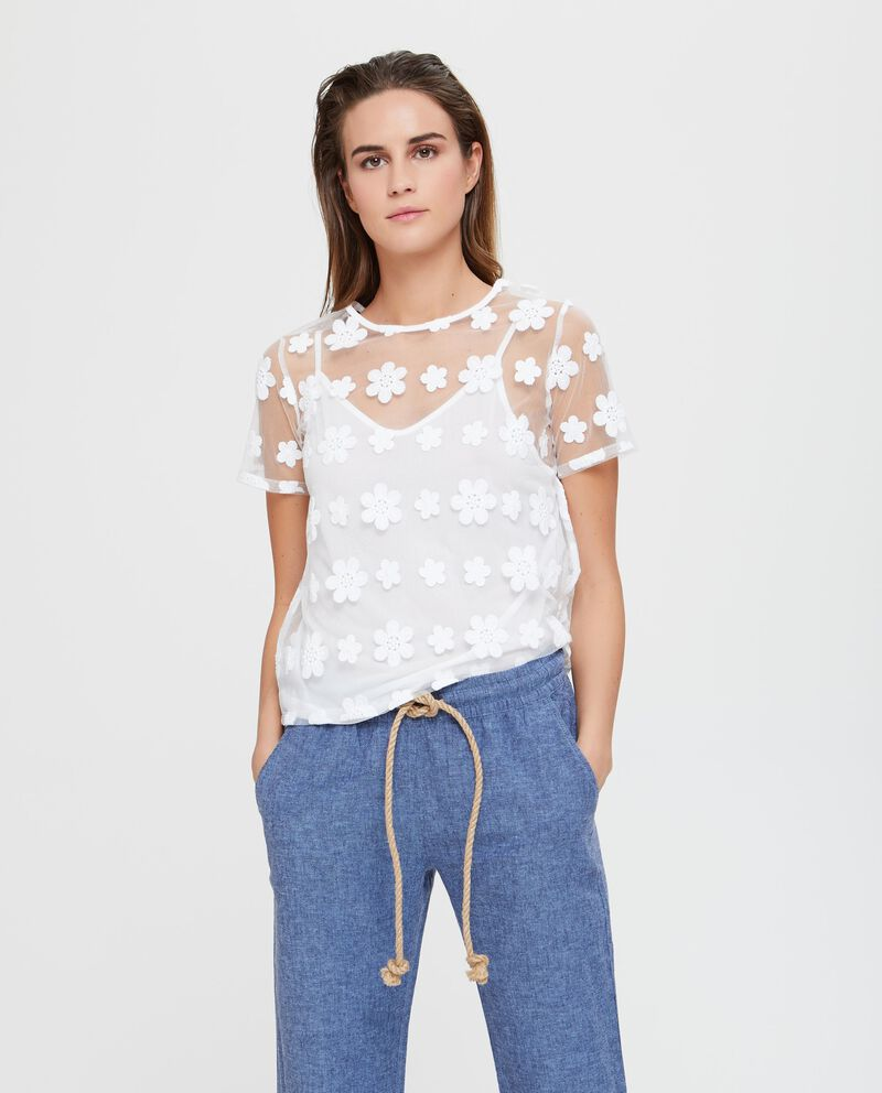 Camicia in cotone bianca velata con ricamo