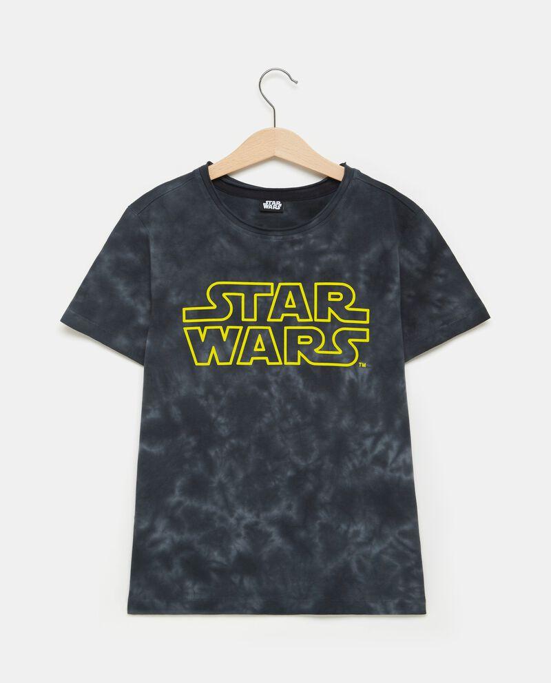 T-shirt nera in puro cotone con effetto sfumato ragazzo