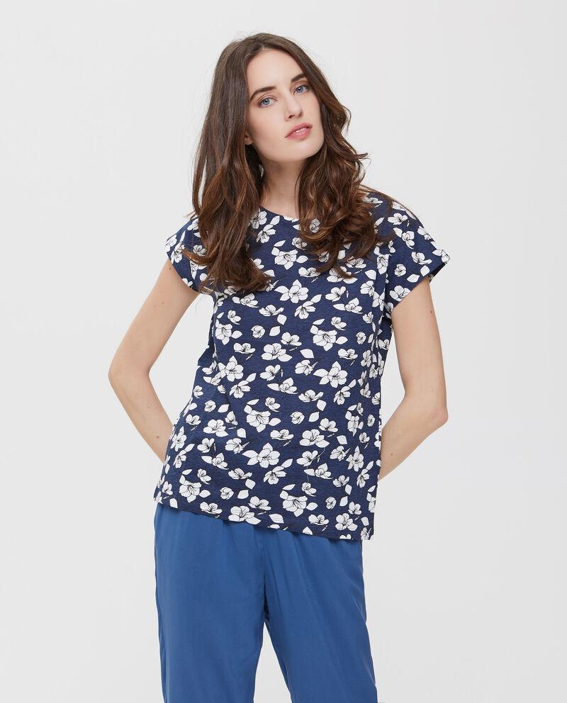 T-shirt in puro cotone blu a fantasia floreale donna