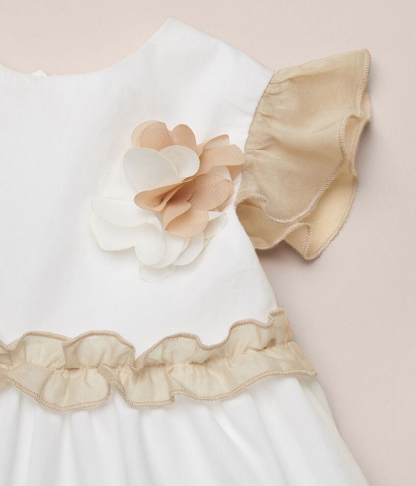 Vestito in popeline di cotone con maniche arricciate MADE IN ITALY
