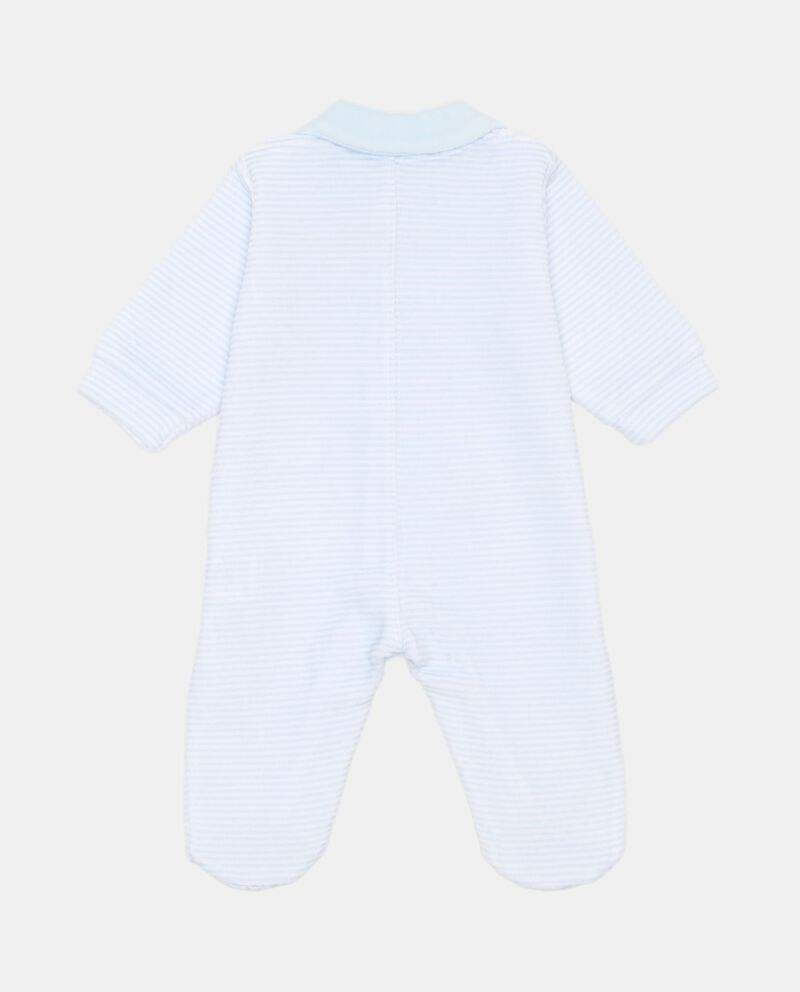 Tutina piedini a righe patch orsetto