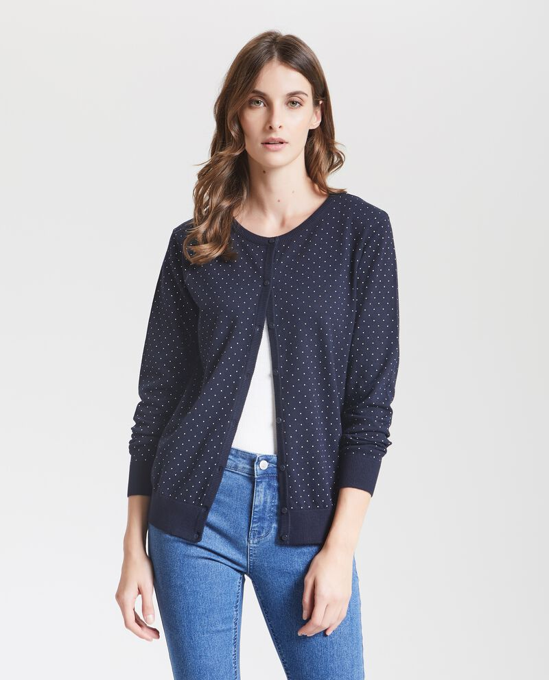 Cardigan a micro pois all-over donna