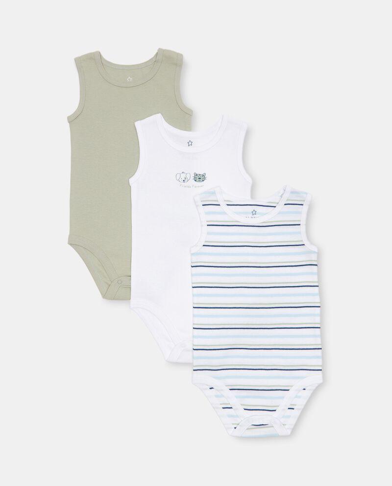 Set 3 body costina in cotone organico neonato